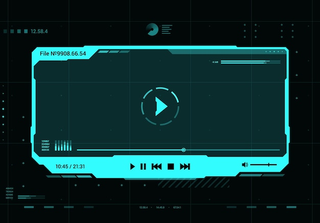 Hud-video- und sound-player futuristische bildschirmoberfläche. zukünftiges multimediasystem, ui-designelement oder virtual-reality-hologrammfenster mit mediaplayer-vektor-neonblauem rahmen, schaltflächen und dateninfos