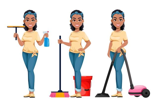 Hübsche afroamerikanische hausfrau, die drei posen säubert. nette dame-cartoon-figur, die hausarbeit macht. vektorgrafik auf lager