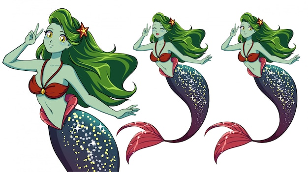 Hübsche anime-meerjungfrau mit einem v-zeichen. grünes haar, grüne haut und glänzend lila fischschwanz.