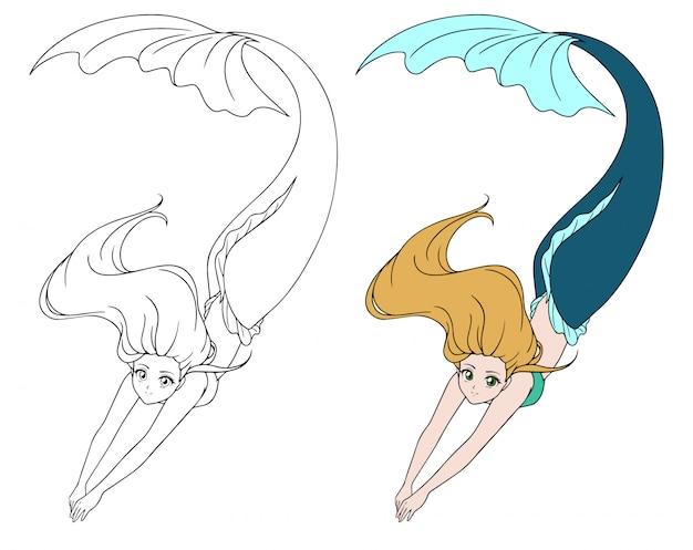 Hübsche anime schwimmende meerjungfrau. rote haare und grüner fischschwanz. hand gezeichnete konturillustration für malbuch, kinderspiele, tätowierung, aufkleber, t-shirt.