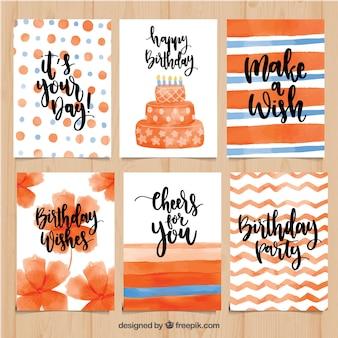 Hübsche aquarell-geburtstagskarten in orangetönen