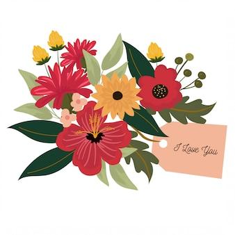 Hübsche blumenanordnung für valentinsgruß, hochzeitskarte