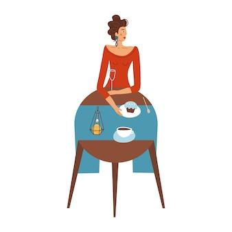 Hübsche dame in rot isst allein in einem restaurant trendiges konzept der weiblichen einzelfigur d ...