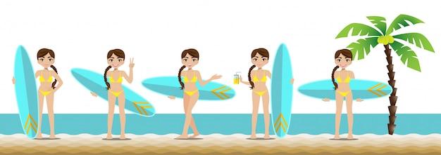 Hübsche dame mit badeanzug und aktivitätsdesign