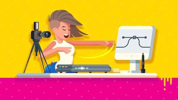 Hübsche designerin demonstriert professionelle digitale grafikwerkzeuge wie kamera, scanner, stift, stift, touchscreen-display.