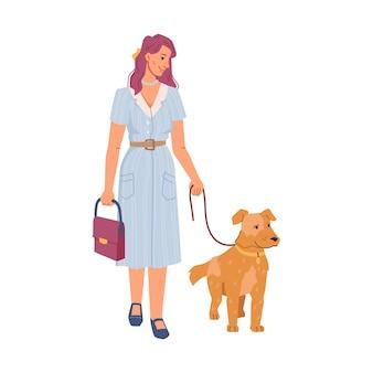 Hübsche frau, die mit hund spazieren geht, lokalisierte haustierbesitzer mit hundetier auf peitschenflachzeichentrickfilm-figuren