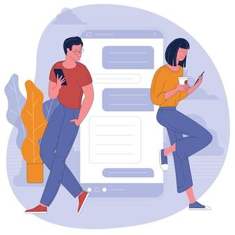Hübsche frau plaudert mit gutaussehendem mann auf dem hintergrund mit riesigem telefon. dating app und virtuelle beziehung. flaches designkonzept.