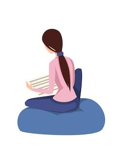 Hübsche frau sitzen und lesen zeitungskarikaturentwurf süßes braunes haarmädchen