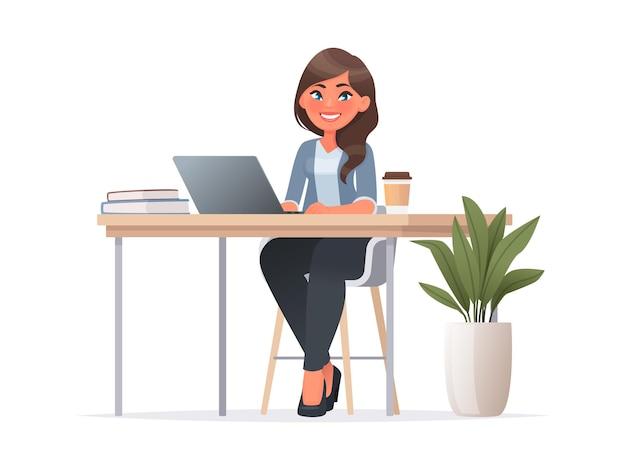 Hübsche frau sitzt am desktop. büroangestellter am arbeitsplatz. arbeiten sie am laptop. vektorillustration im cartoon-stil
