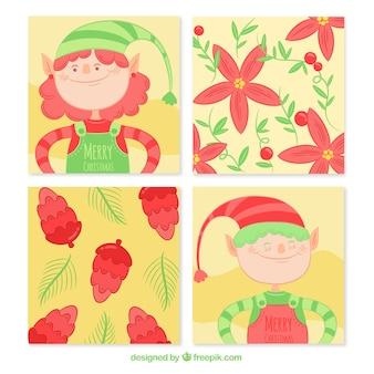 Hübsche hand gezeichnete weihnachtselfkarten