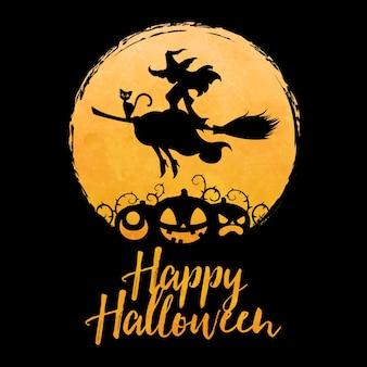 Hübsche hexe, die auf besen mit katze gegen vollmond- und gesichtskürbissilhouette, glückliche halloween-grußkonzeptillustration fliegt