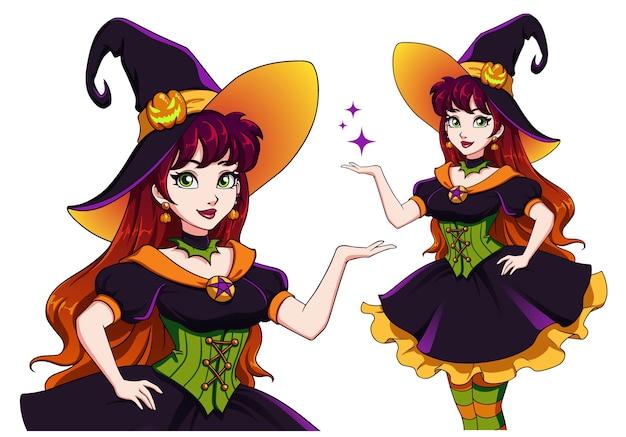 Hübsche junge hexe. halloween-party ankündigen. hand gezeichnetes karikaturmädchen mit bunten haaren und grünen augen.