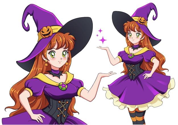 Hübsche junge hexe. halloween-party ankündigen. hand gezeichnetes retro-anime-mädchen mit roten haaren und grünen augen. illustration