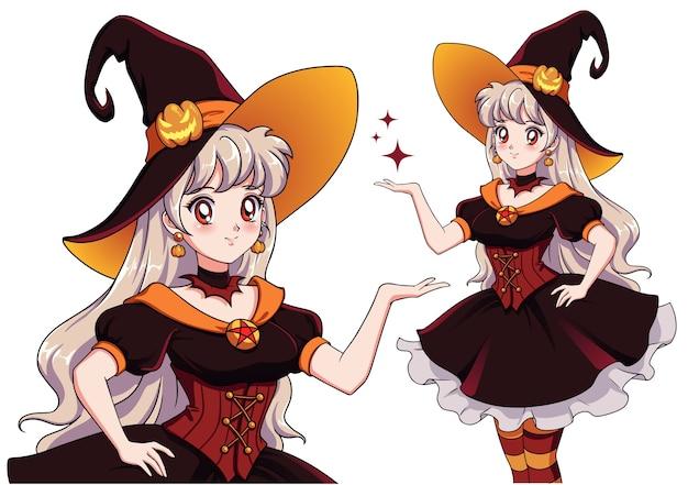 Hübsche junge vampirhexe. halloween party. hand gezeichnetes retro-anime-mädchen mit weißen haaren und roten augen