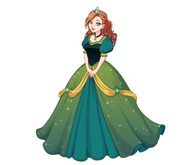 Hübsche karikaturprinzessin, die steht und grünes ballkleid trägt. rotes lockiges haar, große blaue augen.