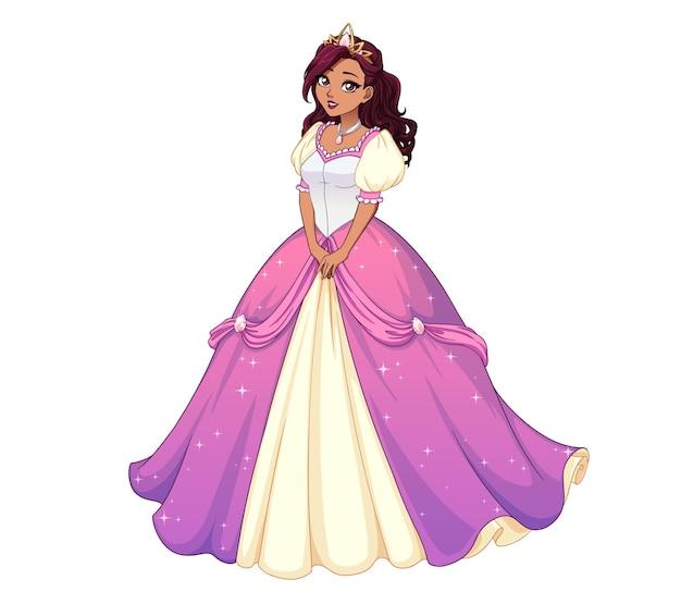 Hübsche karikaturprinzessin stehend und rosa ballkleid tragend. dunkles lockiges haar, große braune augen.
