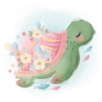 Hübsche schildkröte mit seinen kleinen freunden
