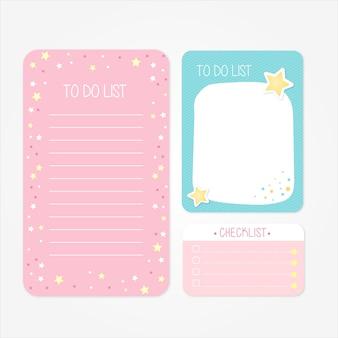 Hübsche schulentwürfe, damit listen und checklisten in den rosa und blauen tönen tun