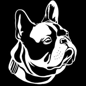 Hübsche schwarze französische bulldogge. dies ist die frenchie-serie im schwarz-weißen stil.