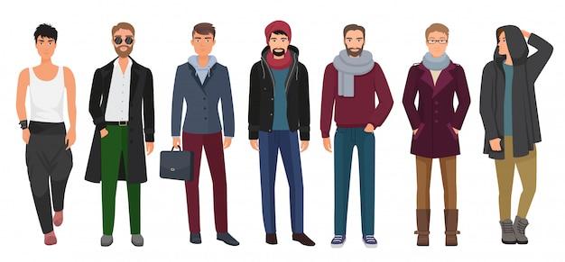 Hübsche und stilvolle männer eingestellt. männliche charaktere der karikaturkerle in der modischen modekleidung. vektor-illustration