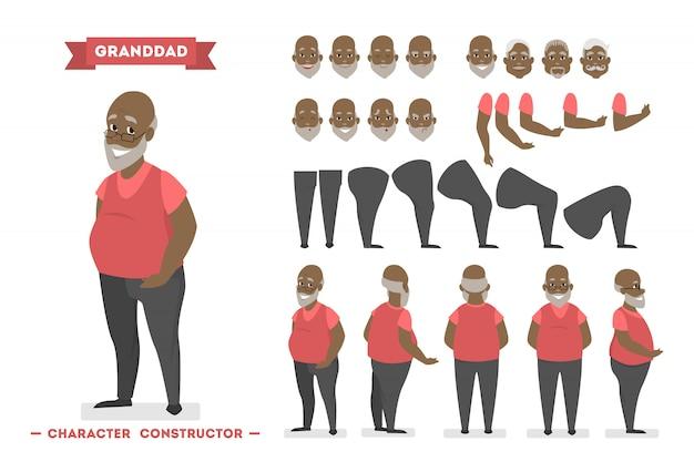 Hübscher älterer manncharakter im roten pulloversatz für animation mit verschiedenen ansichten, frisuren, gesichtsemotionen, posen und gesten.