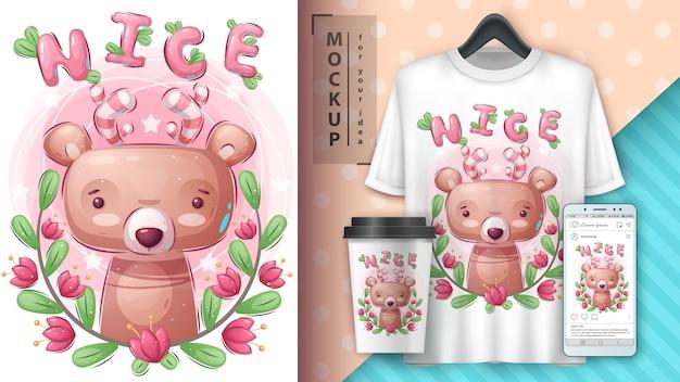 Hübscher bär - plakat und merchandising