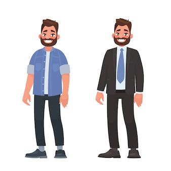 Hübscher bärtiger mann in der zufälligen und geschäftskleidung. person in einem hemd und jeans und einem strengen anzug