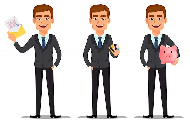 Hübscher banker im anzug