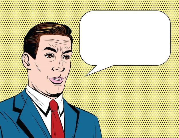 Hübscher erwachsener 50-60s art kerl im anzug, der mit sprechblase spricht