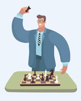 Hübscher geschäftsmann, der am schreibtisch sitzt, der schach spielt und an geschäftsstrategie denkt