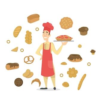 Hübscher glücklicher männlicher bäcker in der roten schürze, die mit einem fruchtkuchen steht. set frische backwaren. brot, kekse, baguette und andere backwaren. illustration im cartoon-stil