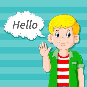 Hübscher junge, der in der comic-blasenrede hallo sagt