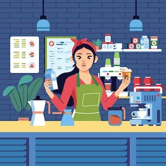Hübscher junger mädchencharakter als barista, der milch und glas kaffee hält, der kaffee für kunden kocht