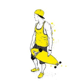 Hübscher kerl in der stilvollen kleidung und im skateboard