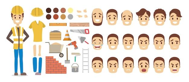 Hübscher männlicher baumeistercharakter im uniformsatz für animation mit verschiedenen ansichten, frisuren, gesichtsemotionen, posen und ausrüstung. illustration