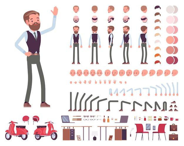 Hübscher männlicher büroangestellter-charaktererstellungssatz