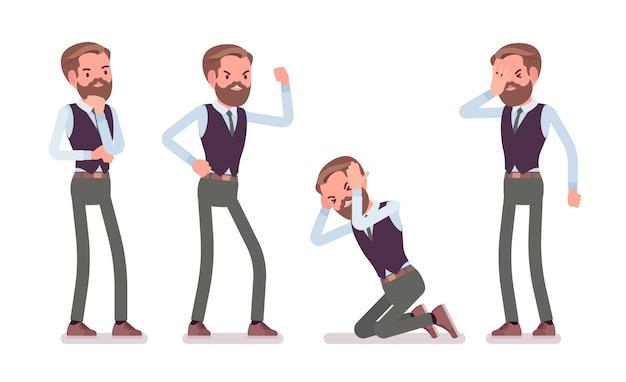 Hübscher männlicher büroangestellter, der negative emotionen fühlt