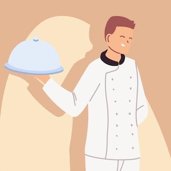 Hübscher männlicher koch im einheitlichen illustrationsdesign