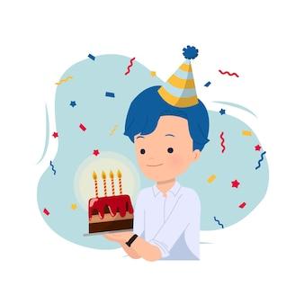 Hübscher mann, der einen kuchen hält, um seinen geburtstag zu feiern, verziert mit partyhut und konfetti. bürojungenfeier. auf weiß.