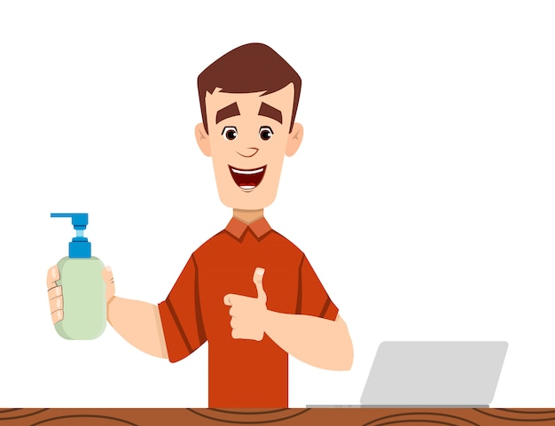 Hübscher mann in der medizinischen und desinfektionsflasche, um von coronavirus zu verhindern