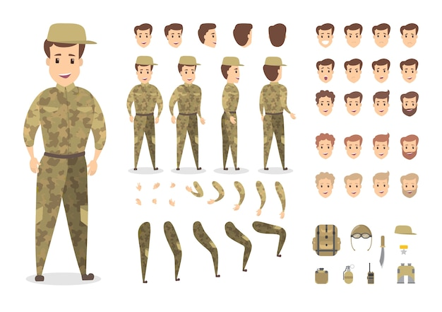 Hübscher militärischer zeichensatz für animation mit verschiedenen ansichten, frisuren, emotionen, posen und gesten. verschiedene geräte wie messer und radio. isolierte vektorillustration