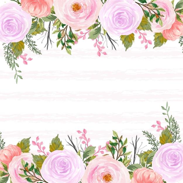 Hübscher roter und lila rustikaler blumenhintergrund mit abstrakter linie