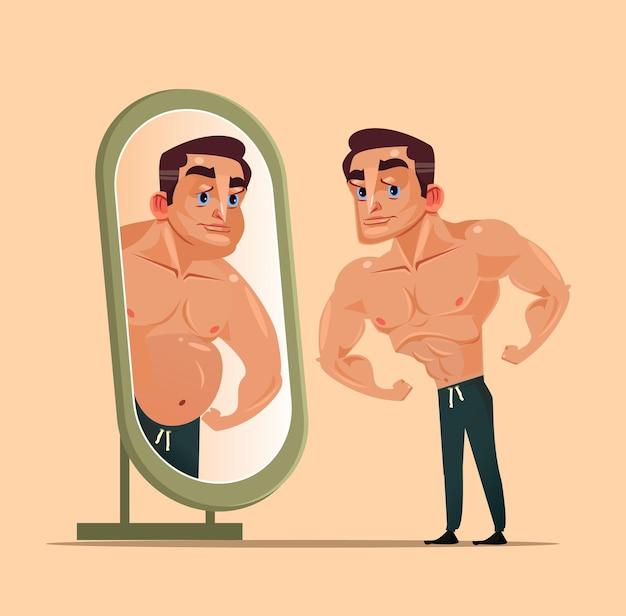 Hübscher starker manncharakter, der spiegel schaut und sich als dicke person sieht