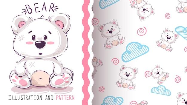 Hübscher teddybär - nahtloses muster