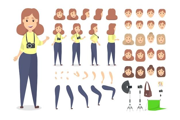 Hübscher weiblicher fotograf-zeichensatz für animation mit verschiedenen ansichten, frisuren, emotionen, posen und gesten. verschiedene geräte wie kamera und softbox. isolierte vektorillustration