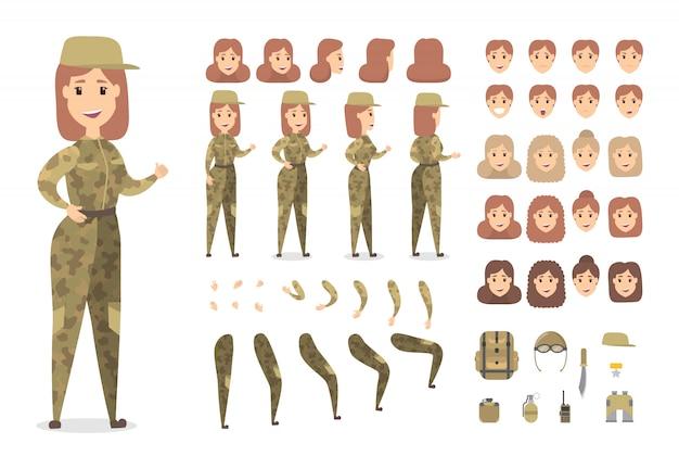 Hübscher weiblicher militärischer zeichensatz für animation mit verschiedenen ansichten, frisuren, emotionen, posen und gesten.