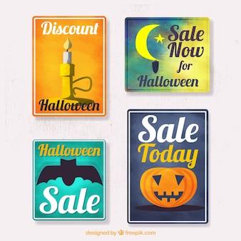 Hübsches aquarell halloween-verkauf-aufkleber