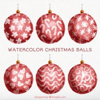 Hübsches aquarell roten kugeln weihnachten