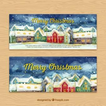Hübsches aquarell weihnachten stadt banner