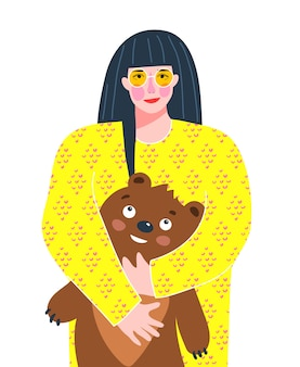 Hübsches erwachsenes mädchen mit kinderspielzeug-teddybär, trendig bunt für grußkarten- oder t-shirt-druck.